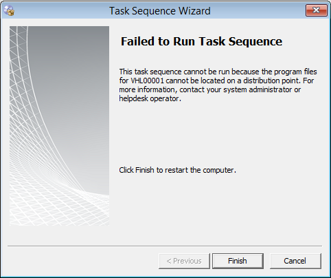 SCCM 2012–Failed to Run Task Sequence : Program files for